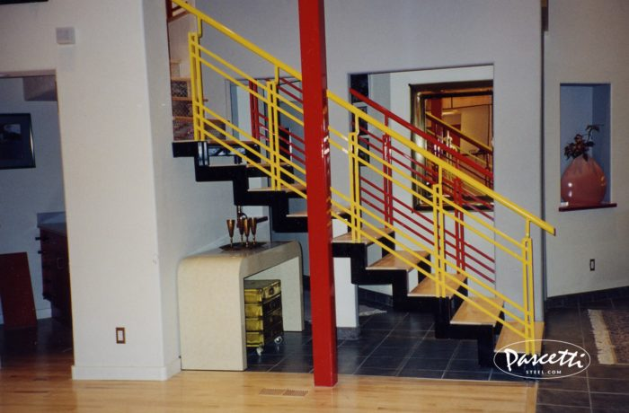 Painted Stair Rails With Wood Treads. «