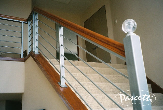 Attractive Steel Railing With Wood Caps. «