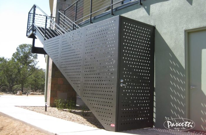 Perforated Metal Panel Enclosed Entry Pascetti Steel