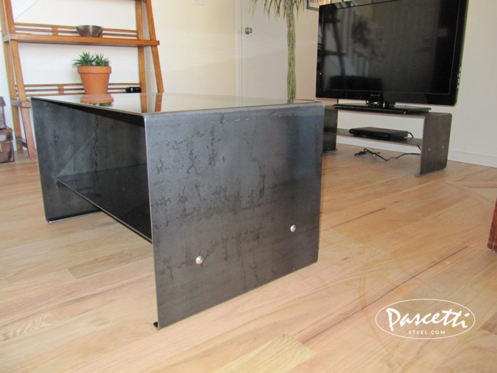 Awesome Raw Furniture #29 - Custom Raw Steel Finish Bent Plate Table With Integrated Shelf ...