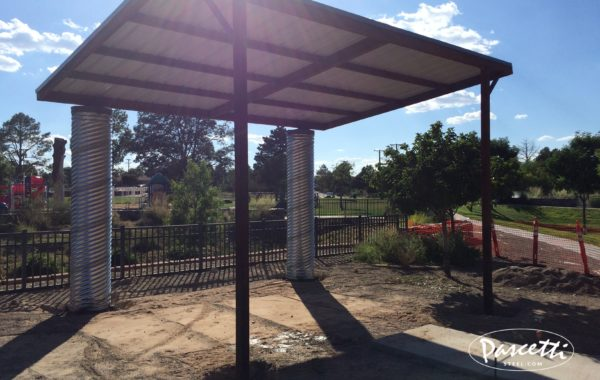 Commercial shade structures pascetti steel design inc for Steel shade structure design
