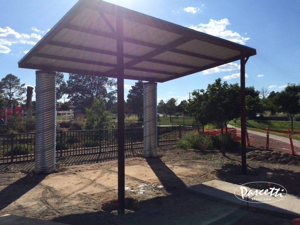 Water collection shade structure pascetti steel design inc for Steel shade structure design