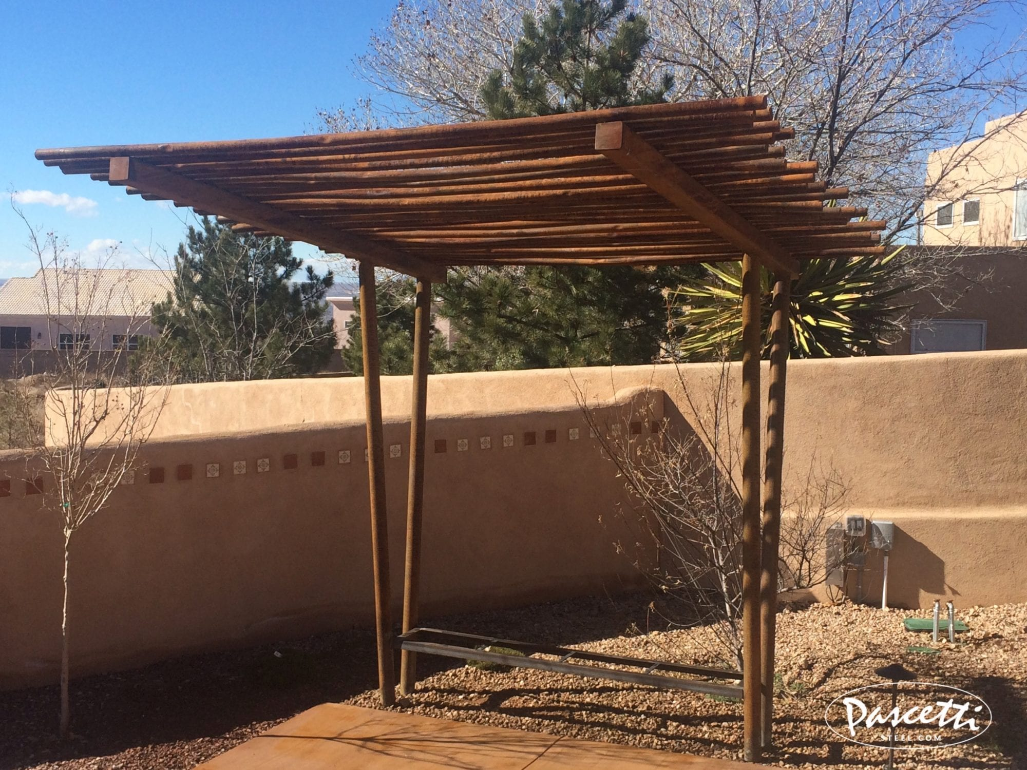 Twisted Pipe Shade Structure Pascetti Steel Design Inc