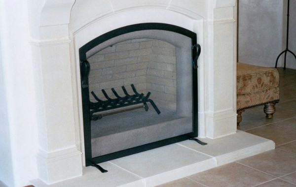 Simple Steel Fireplace Screen