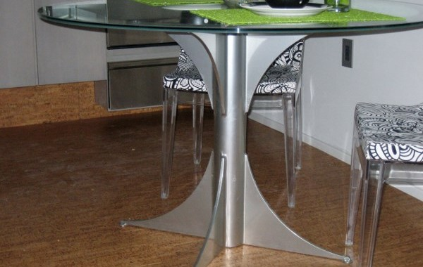 Custom Steel Table Base with Glass Top