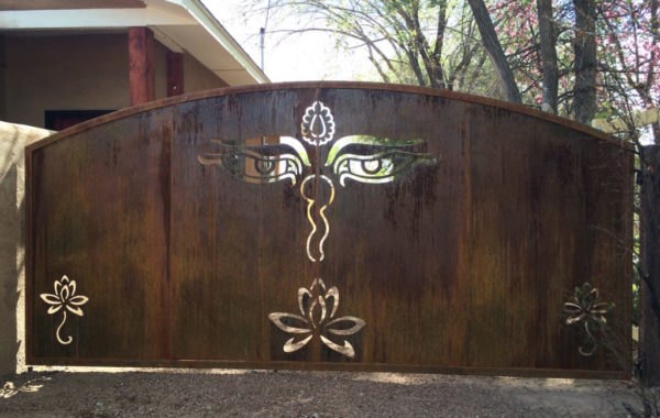 Plasma Cut Gate with Rusty Finish