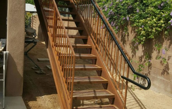 Rusted Stair Unit with Mesh Treads