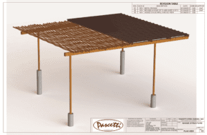 residential shade structure with rusted finish and mixed media components