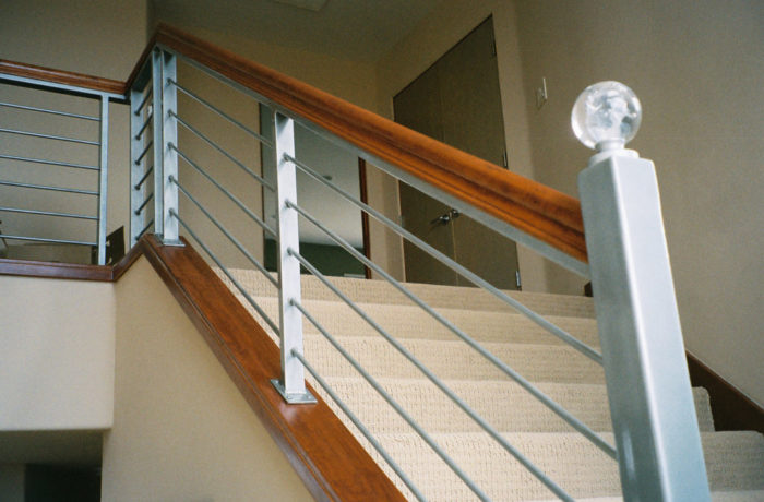 Steel Railing With Wood Caps