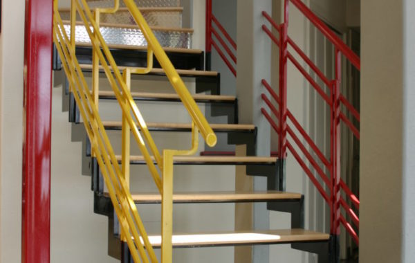 Painted Stair Rails with Wood Treads
